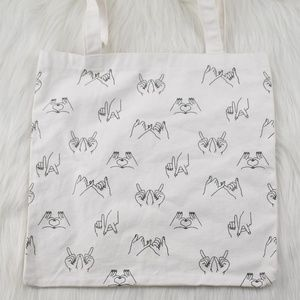 F21 Hand Signs White Canvas Tote w/ Glitter Ink